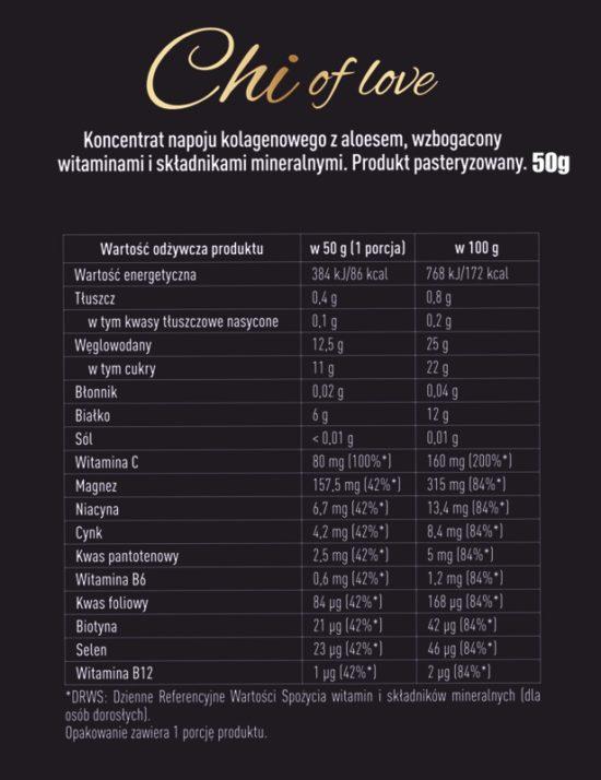 Witaminy i składniki mineralne zawarte w Chi Collagen Elixir.